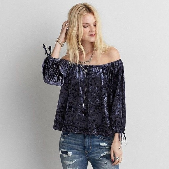 7eb9f6ccbb6825 NWT AE Velvet Off-the-Shoulder Shirt